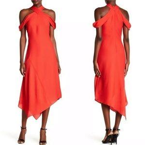 Asymmetrical Midi Dress Cold Mock Neck Rachel Roy